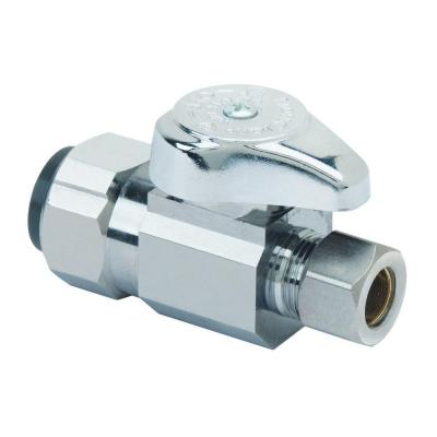 1/2 in. Push Connect Inlet x 3/8 in. Compression Outlet 1/4-Turn Straight Valve