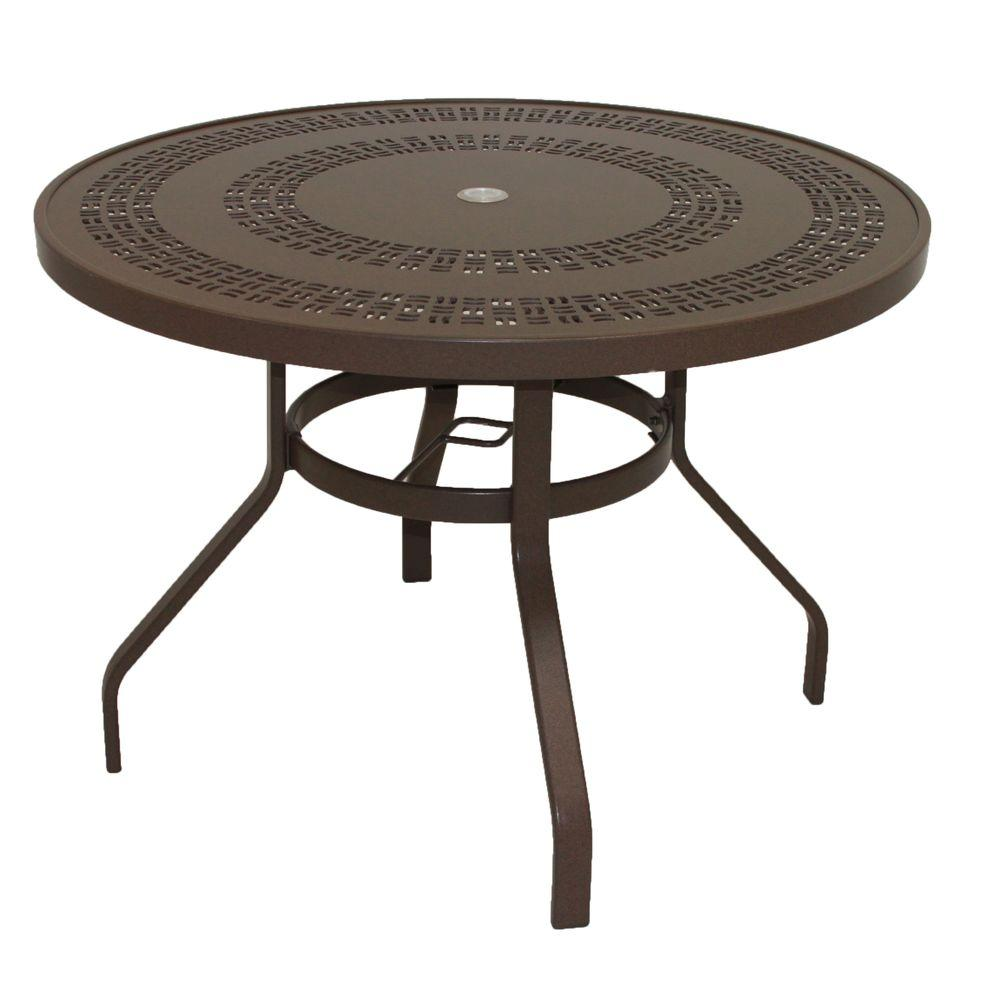 Marco Island 42 in. Dark Cafe Brown Round Commercial Aluminum Outdoor