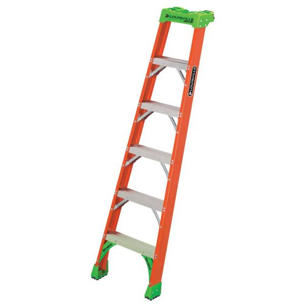 Louisville Ladder 6 Ft Fiberglass Pro Shelf Ladder With 300 Lbs Load Capacity Type Ia Duty Rating Fh1506 The Home Depot