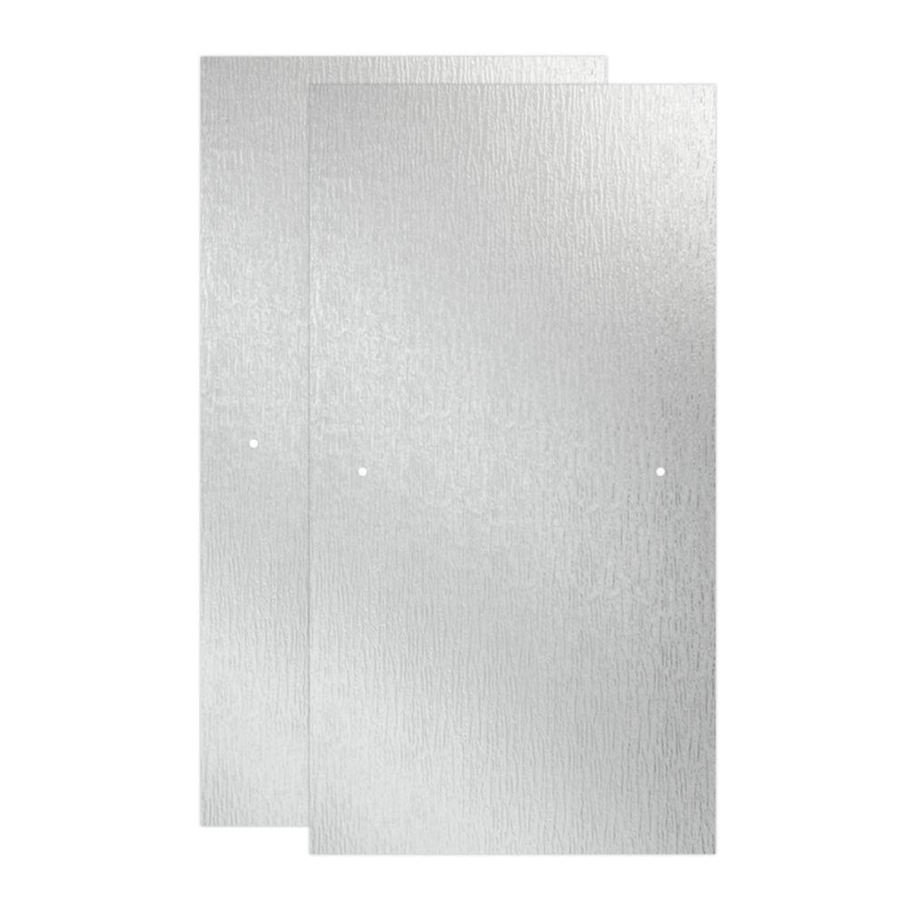 Delta 29-1/32 in. x 55-1/2 in. x 3/8 in. Frameless Sliding Bathtub Door Glass Panels in Rain (1-Pair for 50-60 in. Doors)