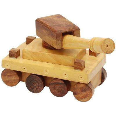 Handmade Wooden Brown Tank Toy With Movable Wheels and Turret