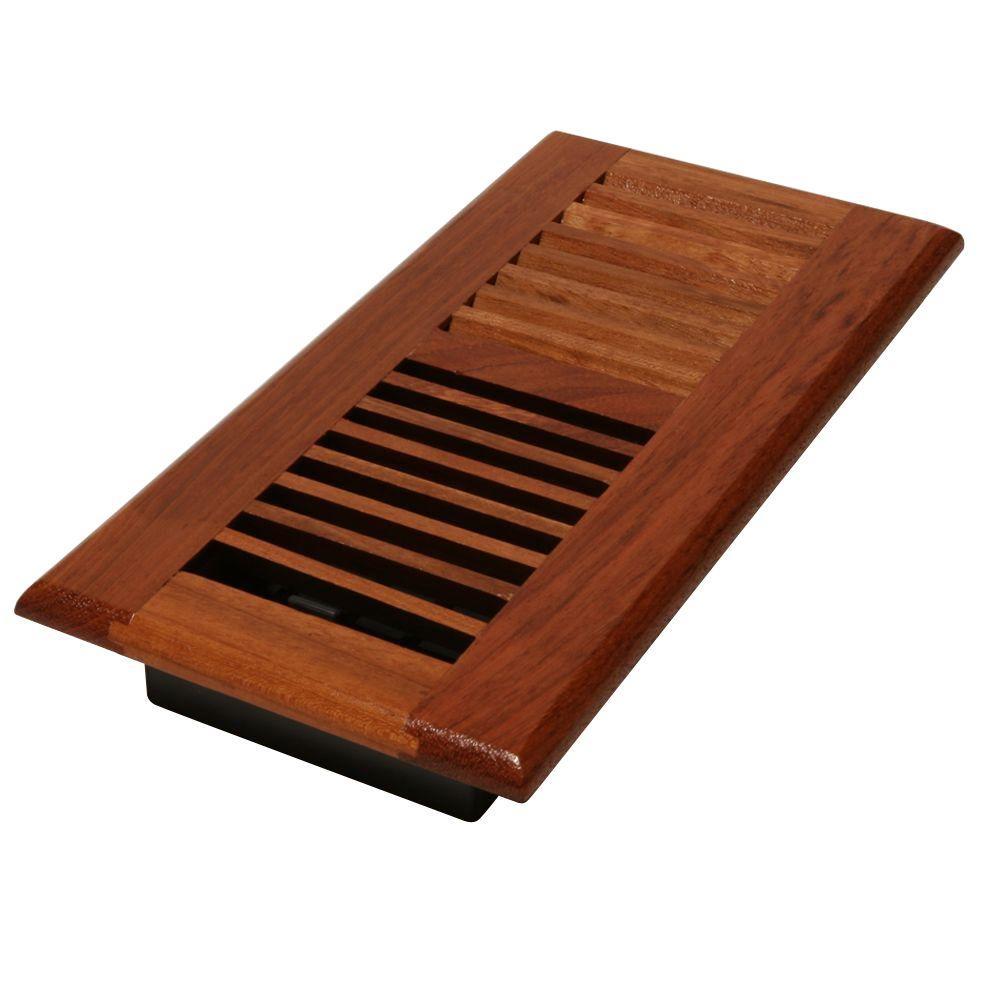 4 in. x 14 in. Solid Brazilian Cherry Wood Floor Register with Damper Box