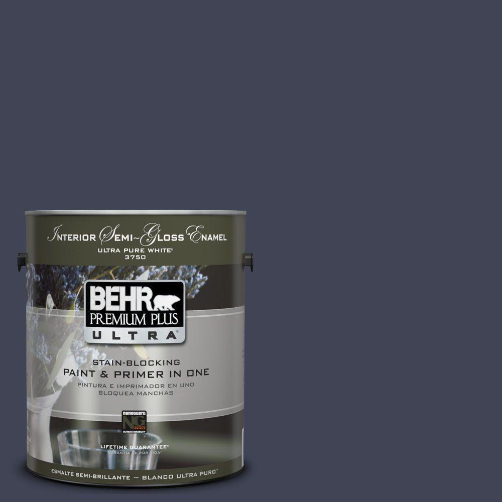 BEHR Premium Plus Ultra 1-gal. #UL240-1 Black Sapphire Interior Semi-Gloss Enamel Paint