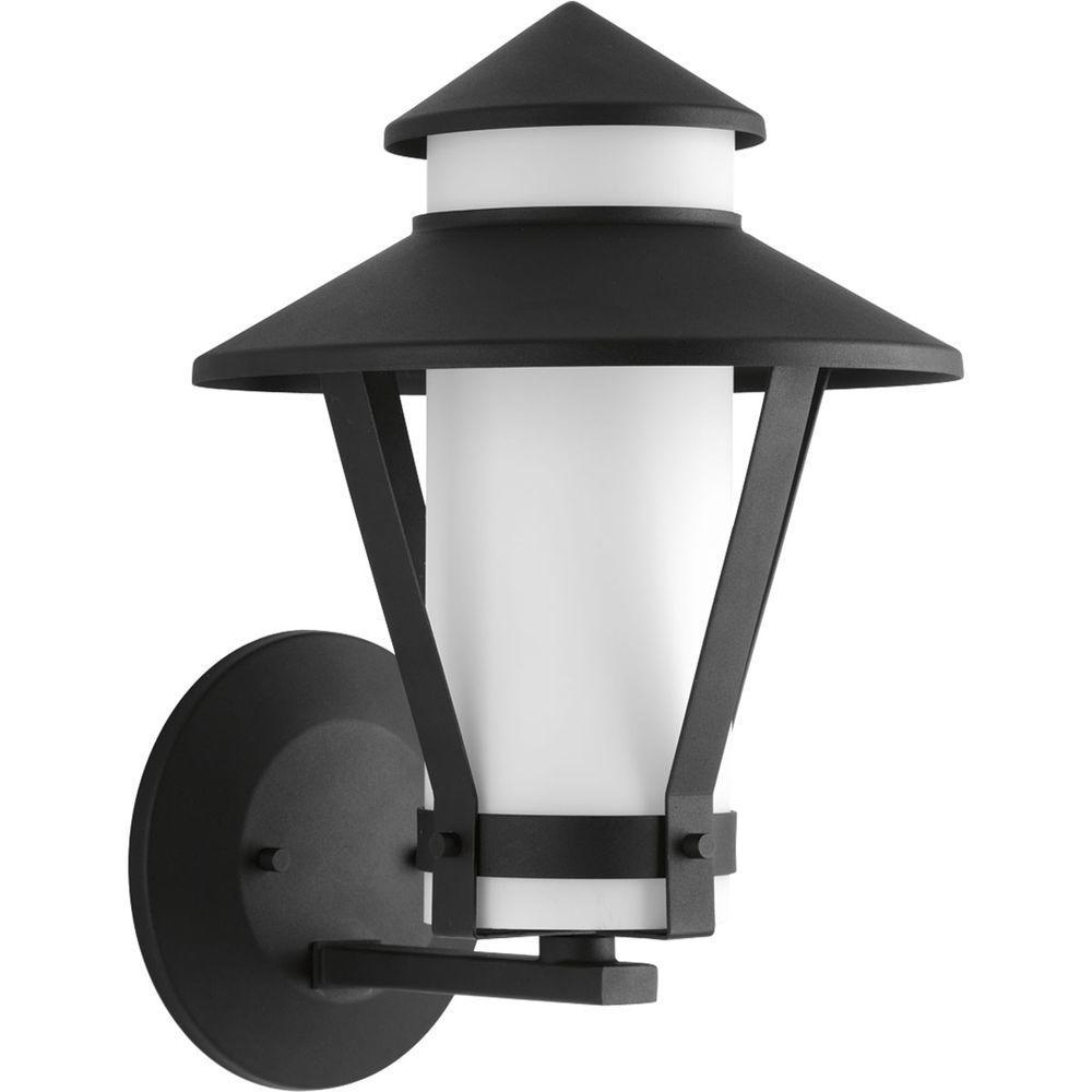 Via Collection 1-Light Black Fluorescent Outdoor Wall Lantern
