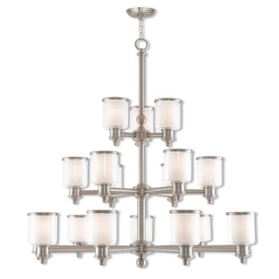 Middlebush 18-Light Brushed Nickel Foyer Chandelier with Hand Crafted Clear and Satin Opal White Glass Shade
