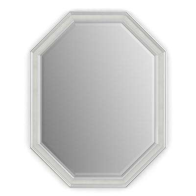 26 in. x 34 in. (M2) Octagonal Framed Mirror with Deluxe Glass and Flush Mount Hardware in Chrome and Linen