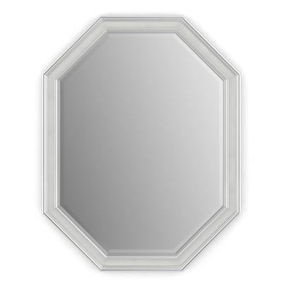 26 in. W x 34 in. H (M2) Framed Octagon Deluxe Glass Bathroom Vanity Mirror in Chrome and Linen