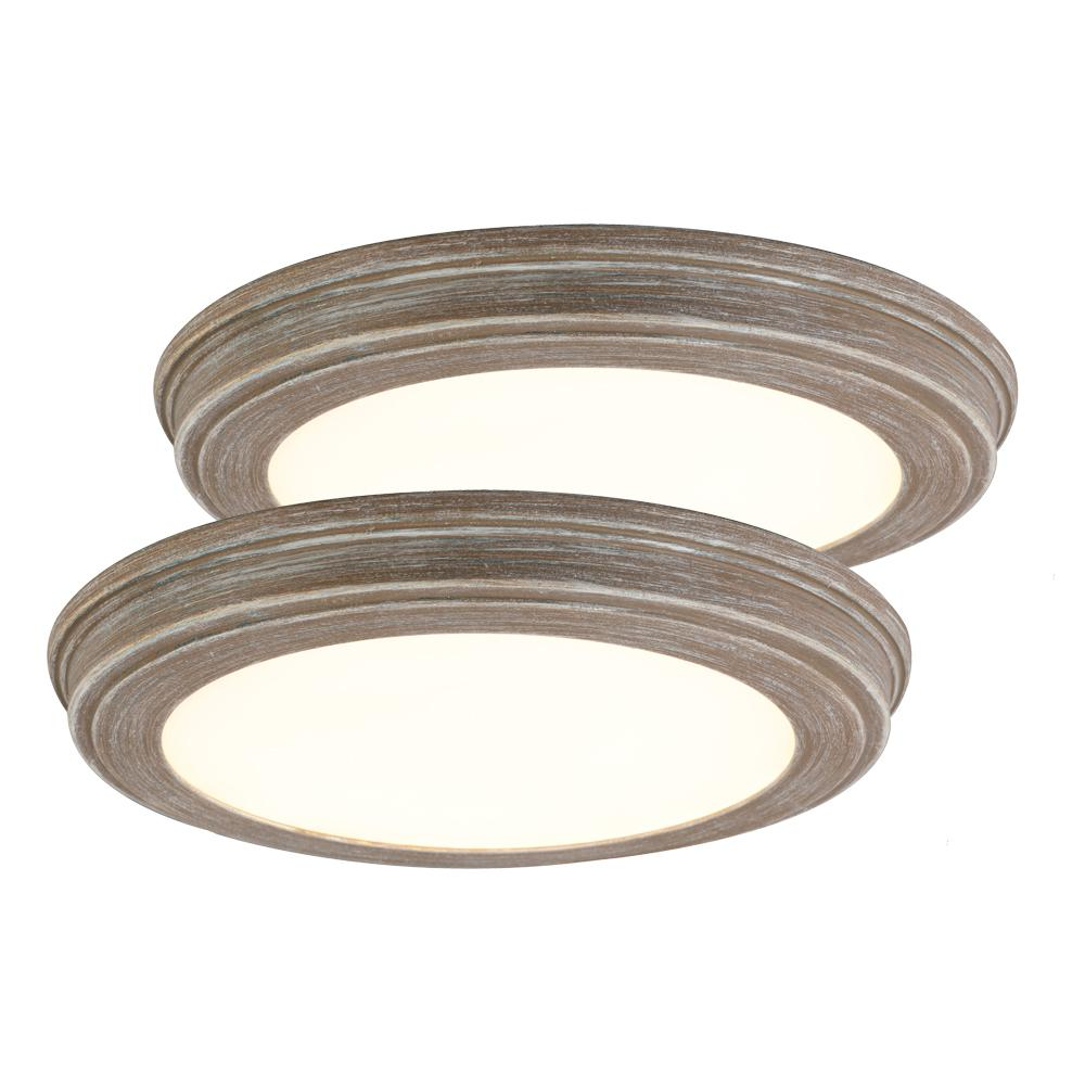 Commercial Electric 13 in. Weathered Gray Wood Color Changing LED Ceiling Flush Mount (2-Pack)