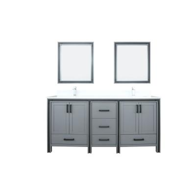 Ziva 72 in. W Double Vanity in Dark Grey with Marble Vanity Top in White Cultured with White Basin, 30 in. Mirrors