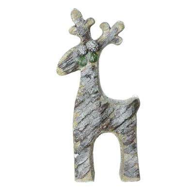 22 in. Gray Rustic Glittered Christmas Reindeer Table Top Decoration