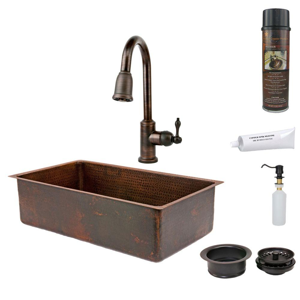 All-in-One Undermount Hammered Copper 33 in. 0-Hole Single Bowl Kitchen Sink