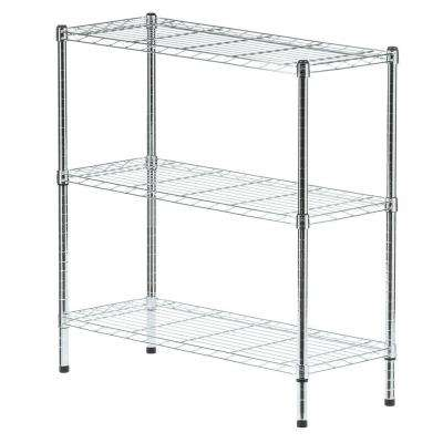 36 in. W x 37 in. H x 14 in. D 3-Shelf Wire Unit in Chrome