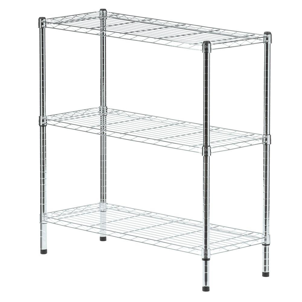 HDX 37 in. H x 36 in. W x 14 in. D 3 Shelf Wire Unit in Chrome-EH ...