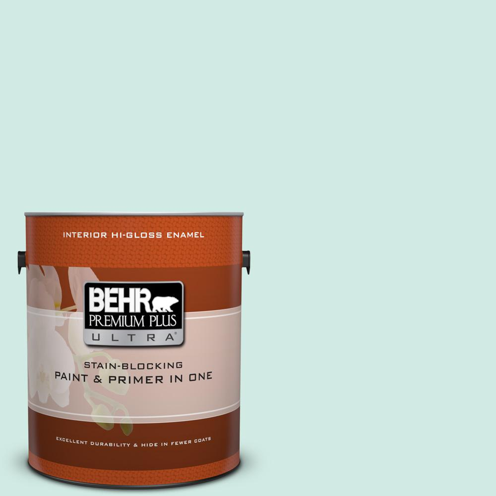 1 gal. #HDC-MD-19 Soft Mint Hi-Gloss Enamel Interior Paint