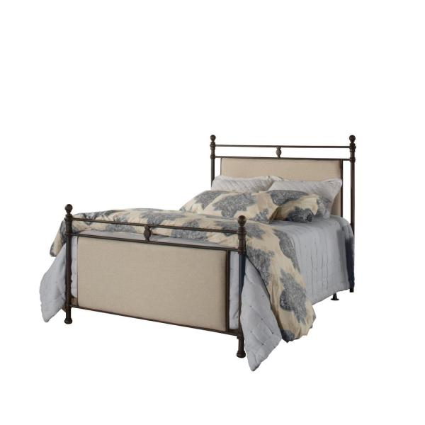 Ashley Rustic Brown And Linen Stone Fabric Queen Bed Rails Included By Hilale Furniture