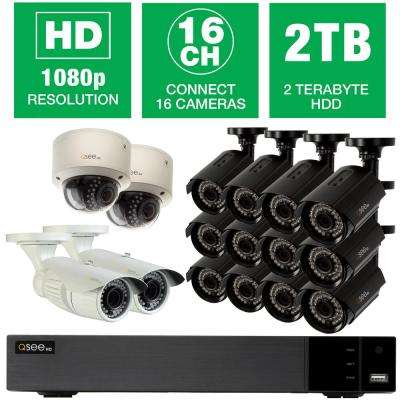 16-Channel 1080p Surveillance System with (12) Bullet Cameras, (2) Dome Cameras and (2) Auto-Focus Cameras