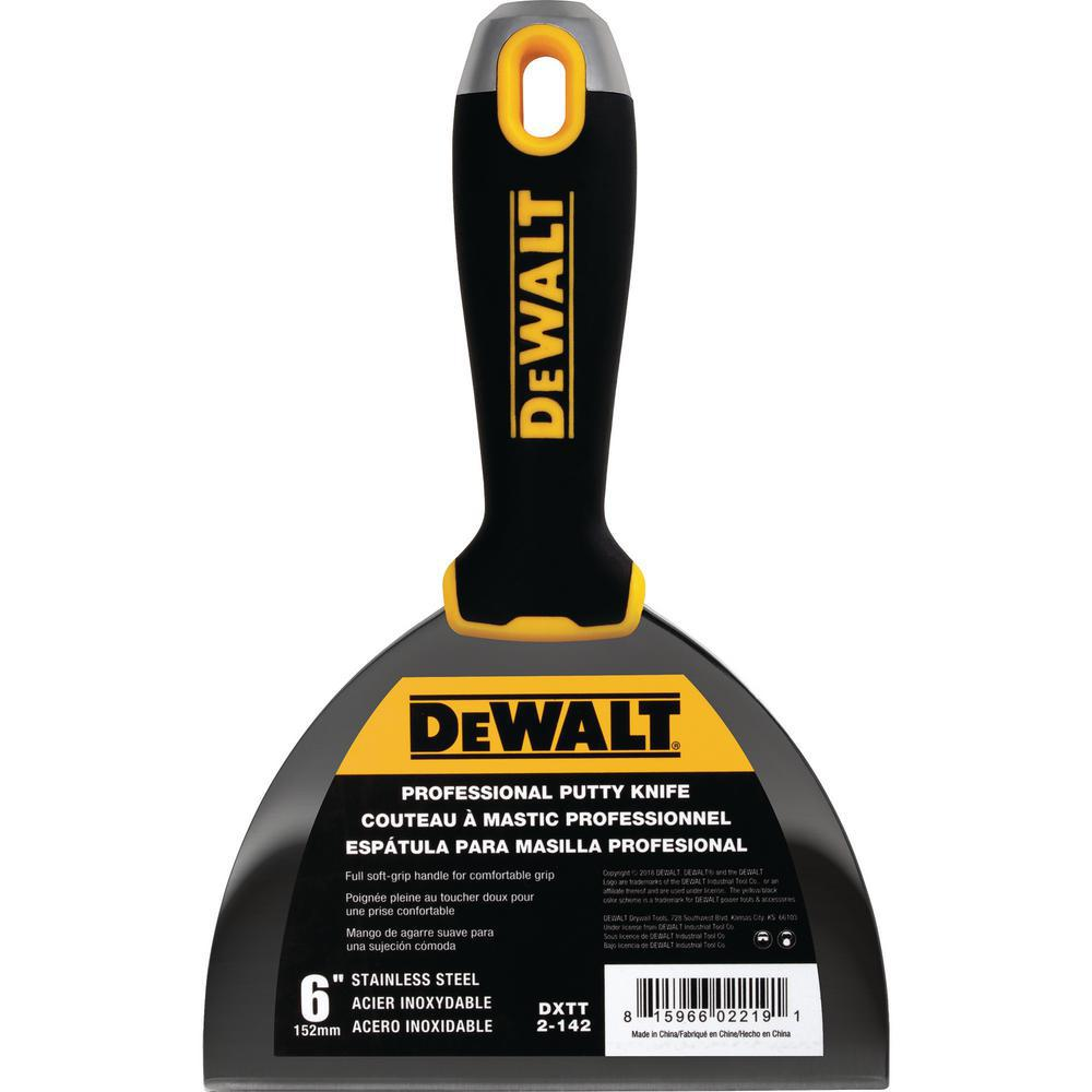 DEWALT 6 in. Stainless Steel Hammer-End Joint Knife with Soft Grip Handle