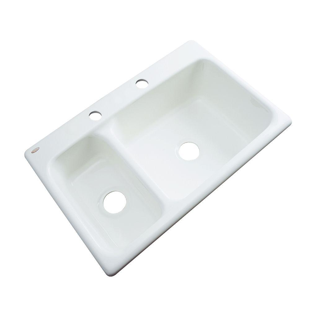 Thermocast Wyndham Drop-In Acrylic 33 in. 2-Hole Double Basin Kitchen Sink in White