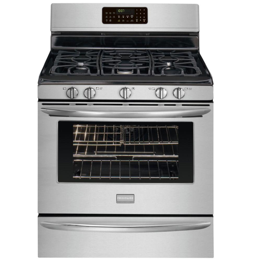 Frigidaire 30 in. 5.0 cu. ft. Gas Range with Self-Cleaning Convection Oven in Stainless Steel
