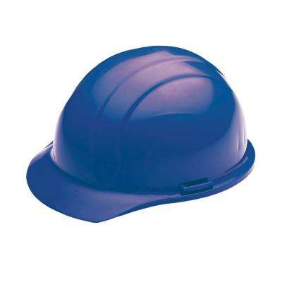 4 Point Nylon Suspension Mega Ratchet Cap Hard Hat in Blue