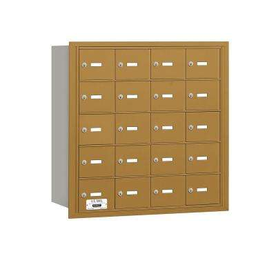 3600 Series Gold Private Rear Loading 4B Plus Horizontal Mailbox with 20A Doors
