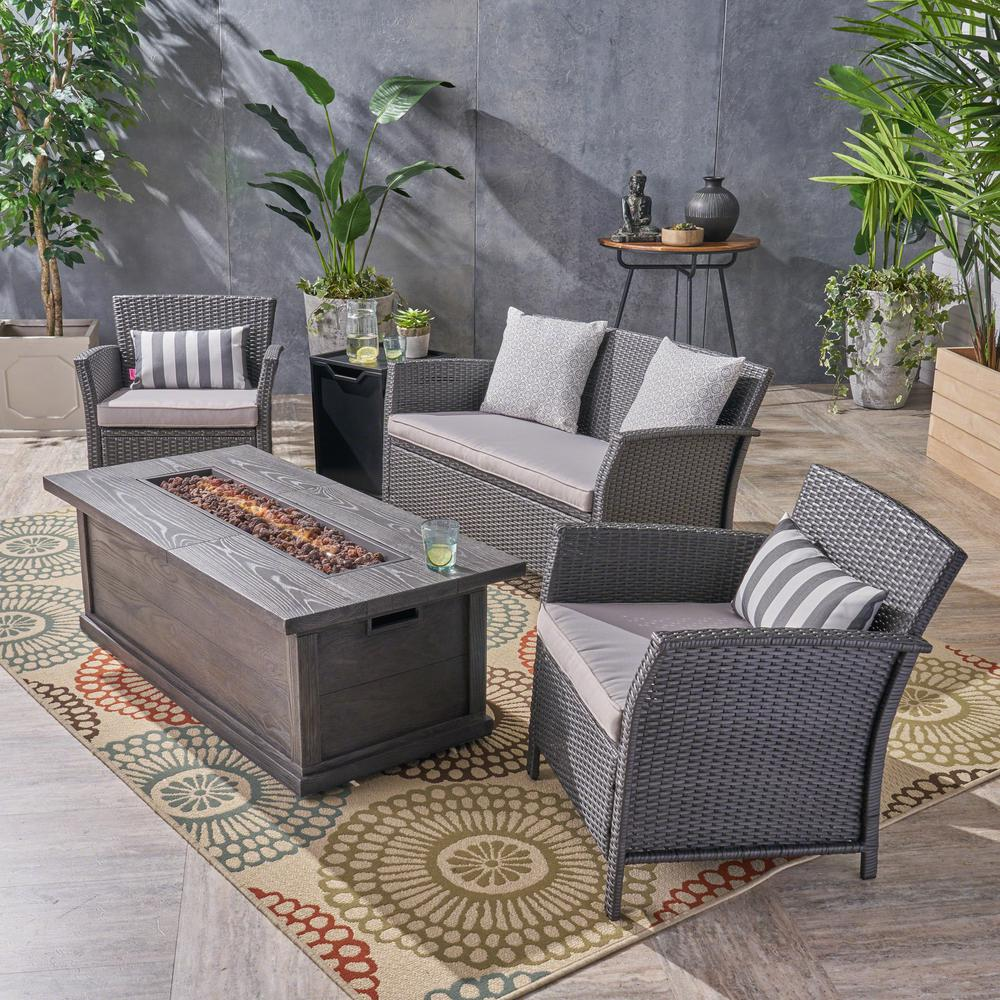 Noble House St. Lucia Gray 5-Piece Wicker Patio Fire Pit Conversation Set with Silver Cushions