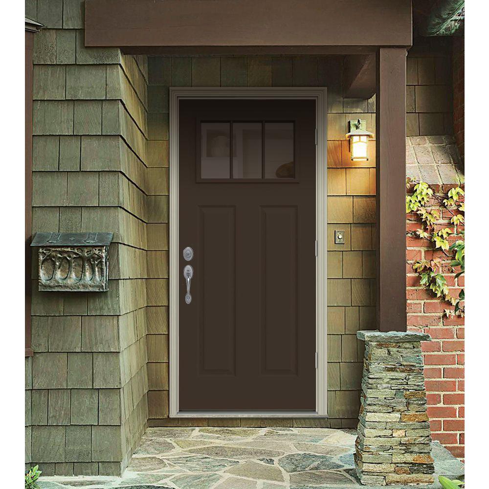 Jeld Wen 32 In X 80 In 3 Lite Craftsman Dark Chocolate Painted Steel Prehung Left Hand Outswing Front Door W Brickmould Thdjw182400053 The Home Depot