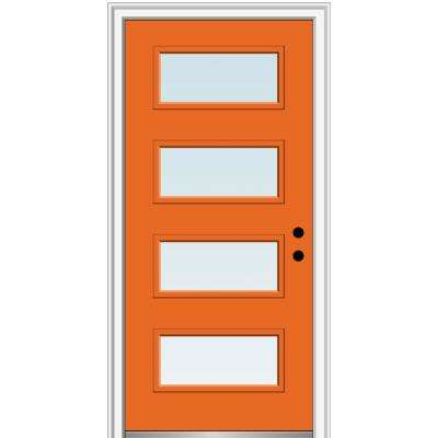 32 in. x 80 in. Celeste Low-E Glass Left-Hand Inswing 4-Lite Clear Painted Steel Prehung Front Door
