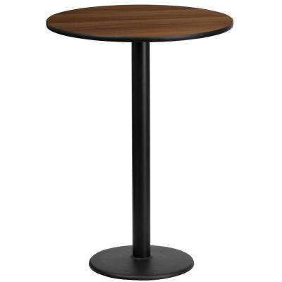 24 in. Round Walnut Laminate Table Top with 18 in. Round Bar Height Table Base