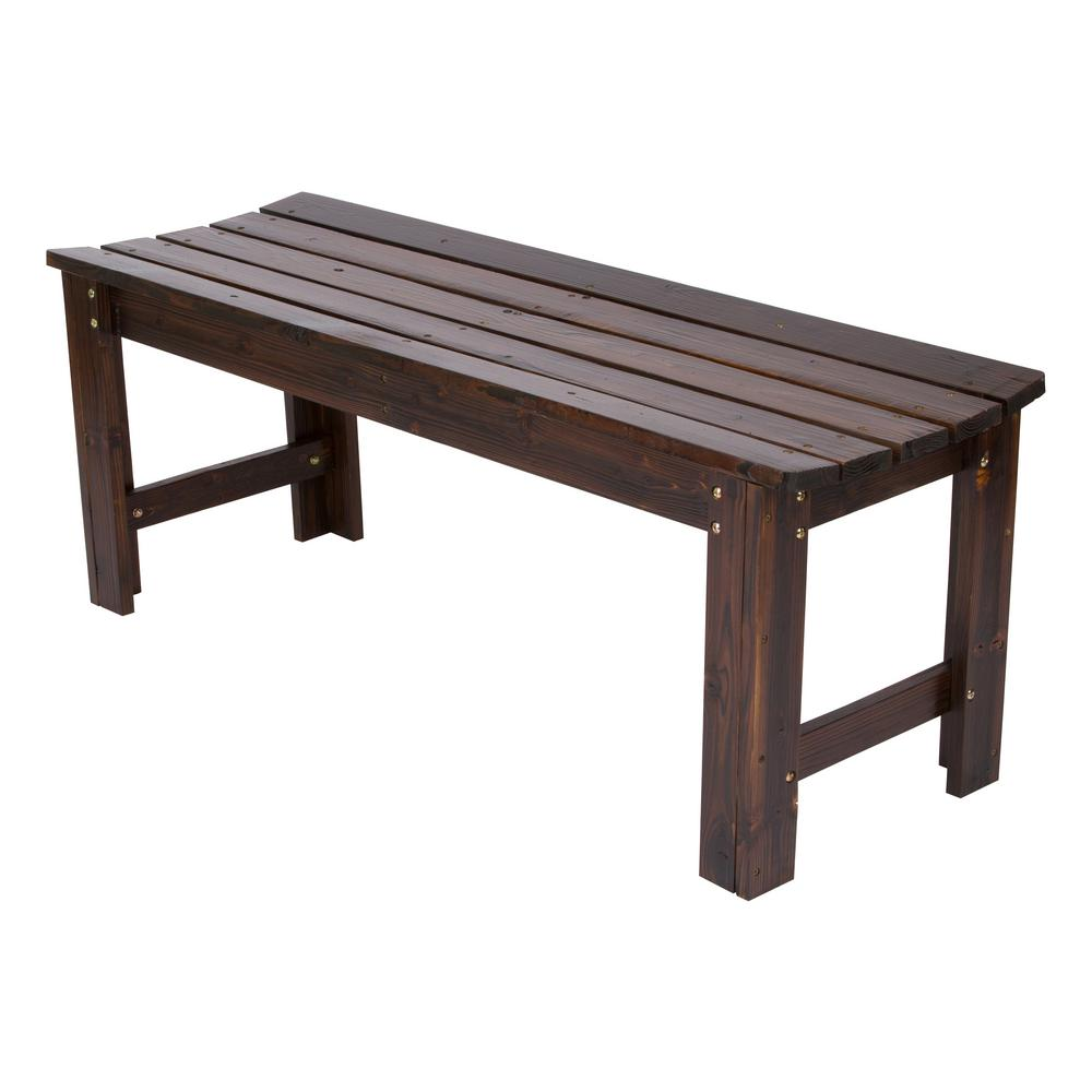 Shine Company 4 Ft Backless Cedar Wood Outdoor Garden Bench Burnt Brown
