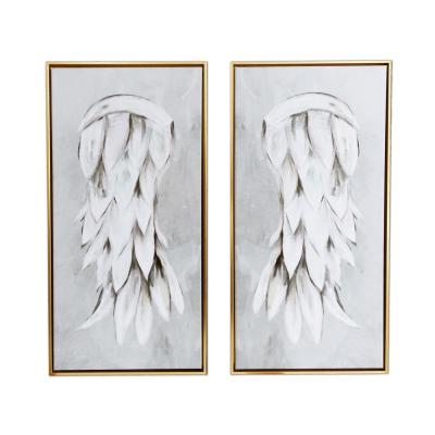 Angel Wings 2-Piece Floating Frame Canvas Religious Art Print 29 in. x 29 in.