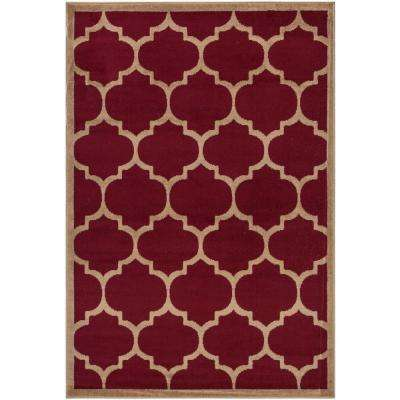Contemporary Moroccan Trellis Dark Red 8 ft. x 10 ft. Area Rug