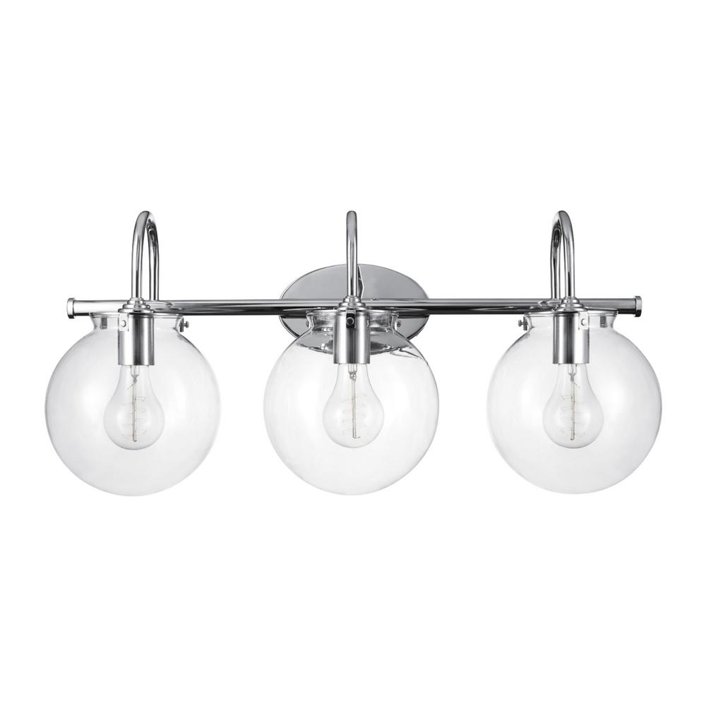 Globe Electric Globe Electric Milan 3-Light Chrome Vanity Light with Clear Glass Shades