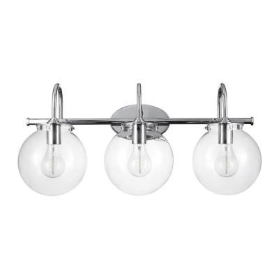 Milan 3-Light Chrome Vanity Light with Clear Glass Shades