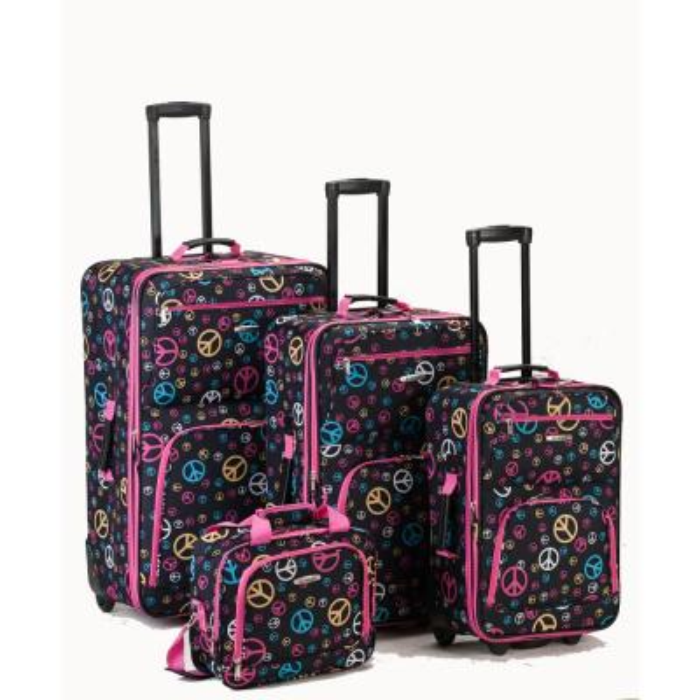 Rockland Beautiful Deluxe Expandable Luggage 4-Piece Softside Luggage Set, Peace