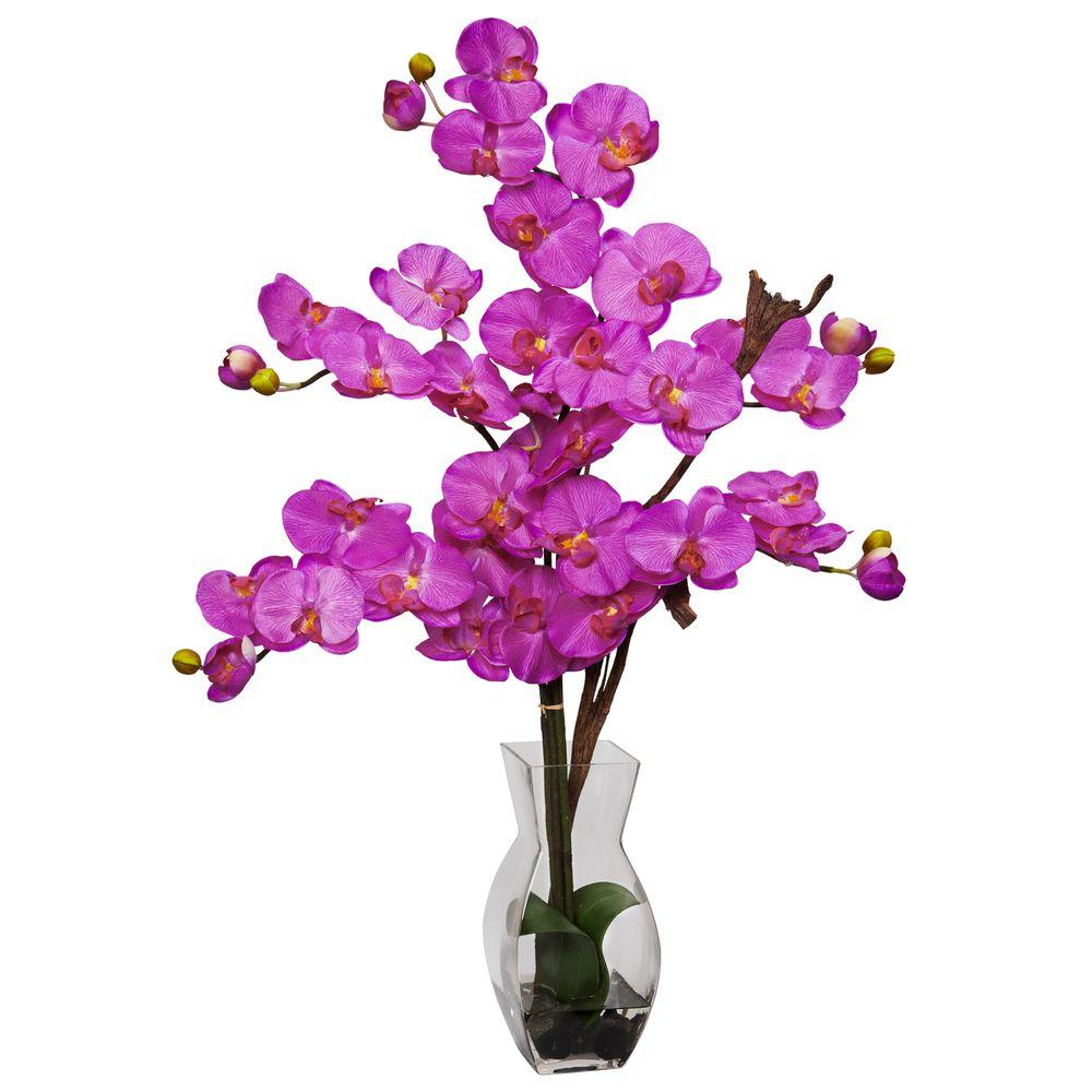 29 in. H Orchid Phalaenopsis with Vase Silk Flower Arrangement