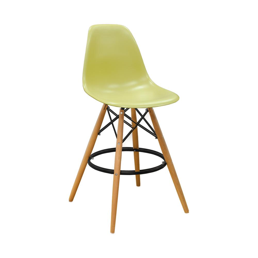 Green Mid Century Modern Barstool Set Of 2 Mm Pc 016wh The Home Depot