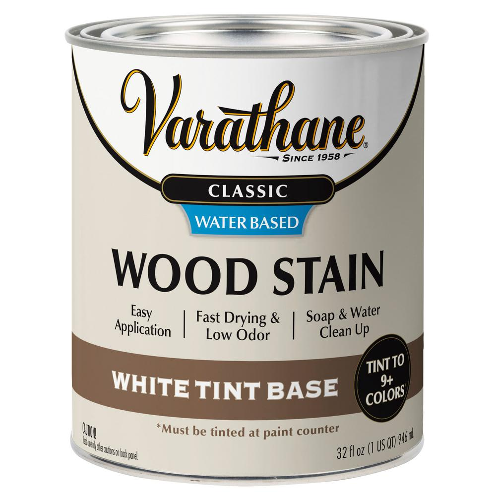 Varathane 1 Qt Classic White Tint Base Water Based Interior Wood Stain 339584 The Home Depot