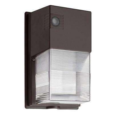 TWS 25-Watt Dark Bronze Outdoor Integrated LED Wall Pack Light with Dusk to Dawn Photocell