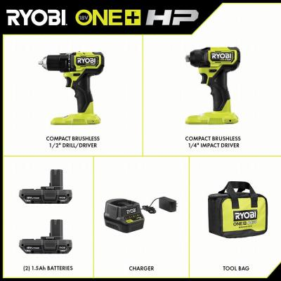 ONE+ HP 18V Brushless Cordless Compact 1/2 in. Drill and Impact Driver Kit with (2) 1.5 Ah Batteries, Charger and Bag