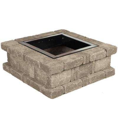 RumbleStone 38.5 in. x 14 in. Square Concrete Fire Pit Kit No. 1 in Greystone