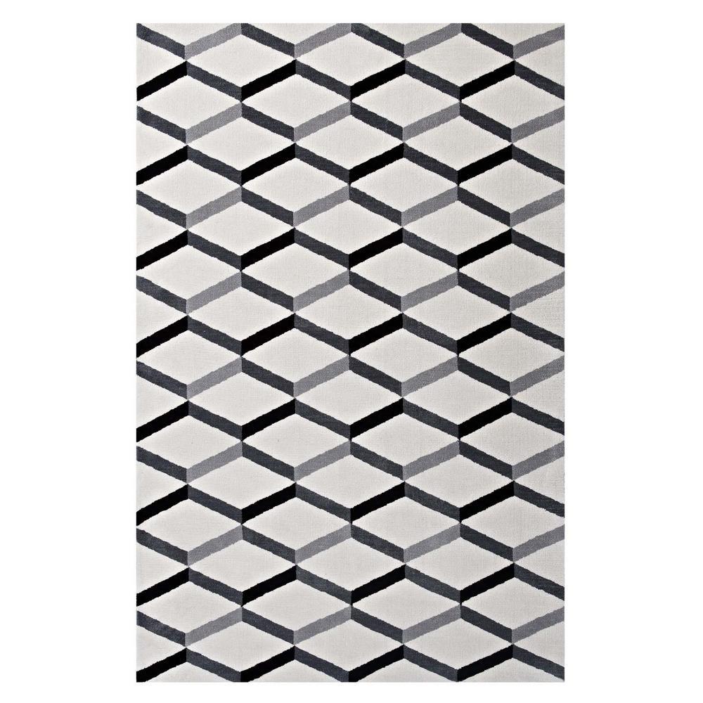 Modway Sigrun Geometric Chevron 5x8 Area Rug In Black And White R
