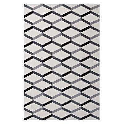 Sigrun Geometric Chevron 5 ft. x 8 ft. Area Rug in Black and White
