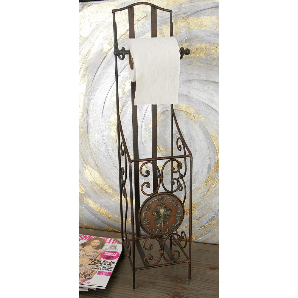 30 in h black iron toilet paper holder and storage rack with burgundy medallion and gold fleur - Fleur de lis toilet paper holder ...