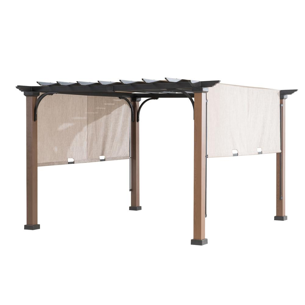 Sunjoy 9 ft. x 9 ft. Square Steel Mason Pergola with Adjustable Beige Cover