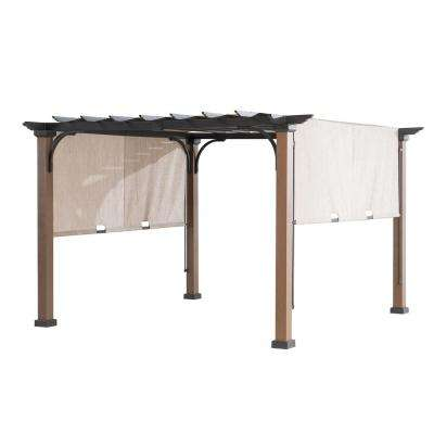 9 ft. x 9 ft. Square Steel Mason Pergola with Adjustable Beige Cover