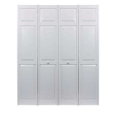 48 in. x 80 in. Seabrooke 6-Panel Raised Panel White Hollow Core PVC Vinyl Interior Bi-Fold Door