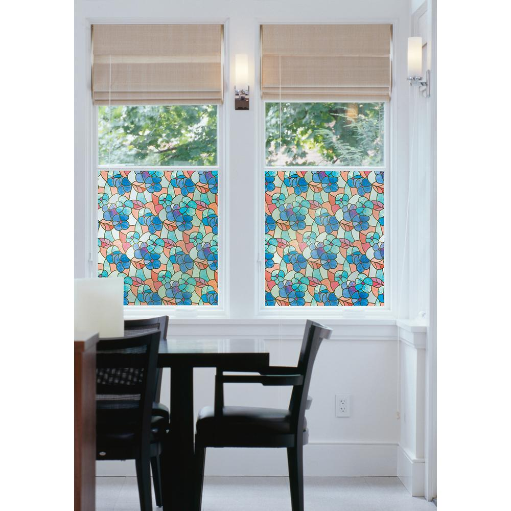 DC Fix 17.7 in. x 59 in. Pansies Blue Window Film Cobalt, aqua, white and peridot green make up this lovely pansy flower stained glass window film. Adding a beautiful detail to your glass, filtering the sunlight and creating privacy, this window film is a wonderful accent for your home.