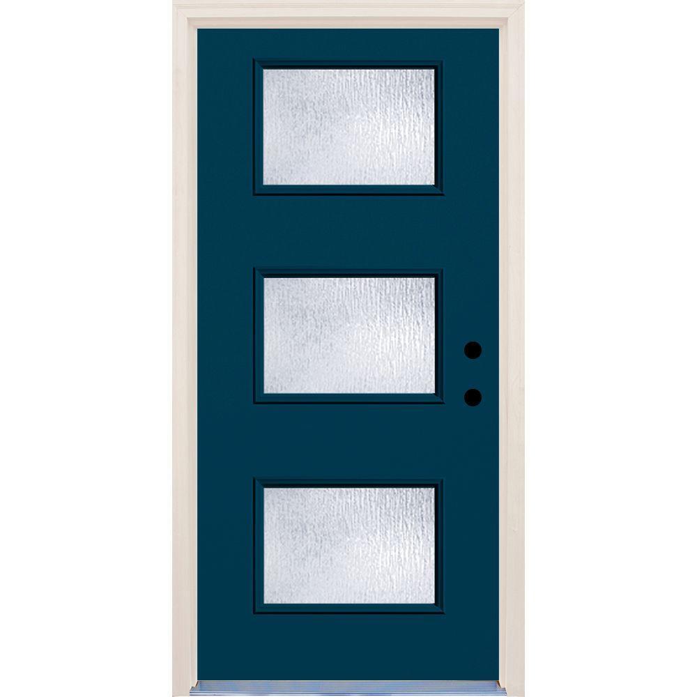 36 in. x 80 in. Left-Hand Atlantis 3 Lite Rain Glass Painted Fiberglass Prehung Front Door with Brickmould