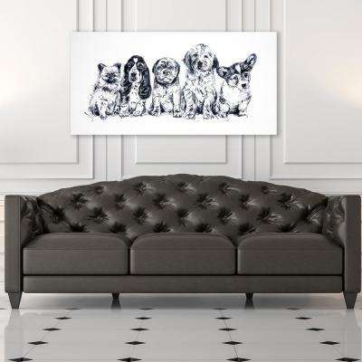 "30 in. x 60 in. ""Puppy Love"" by Milo Printed and Painted Canvas Wall Art"